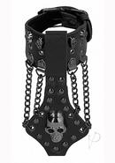 Ouch! Skulls And Bones Skull Bracelet With Chains Leather...