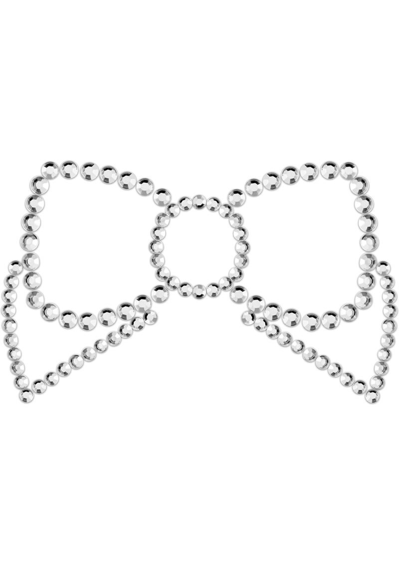 Bijoux Indiscrets Body Decorations Mimi Rhinestone Pasties Bow Silver 2 Each Per Pack